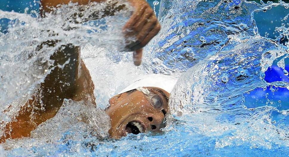 Canada's Tobias Oriwol competes in the men's 4 x 200-metre freestyle heats at the 2012 Summer Olympics in London. (The Canadian Press / Sean Kilpatrick) (CP)
