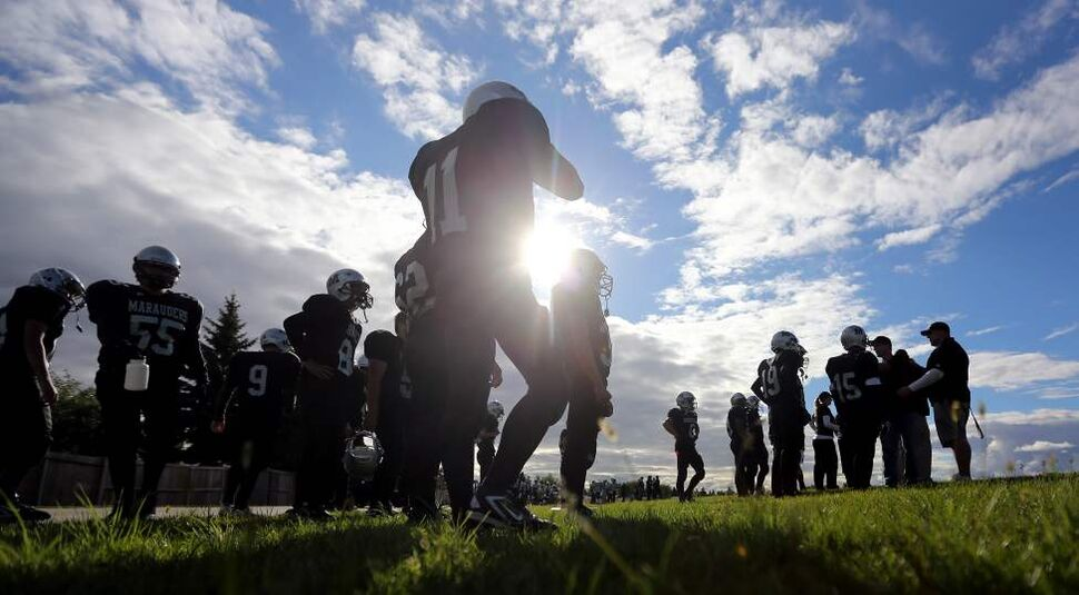 Maples Marauders' start their season against the West Kildonan Wolverines at Maples Collegiate. The 2012 Winnipeg High School Football League kicked off Thursday, September 6, 2012. (TREVOR HAGAN/WINNIPEG FREE PRESS)