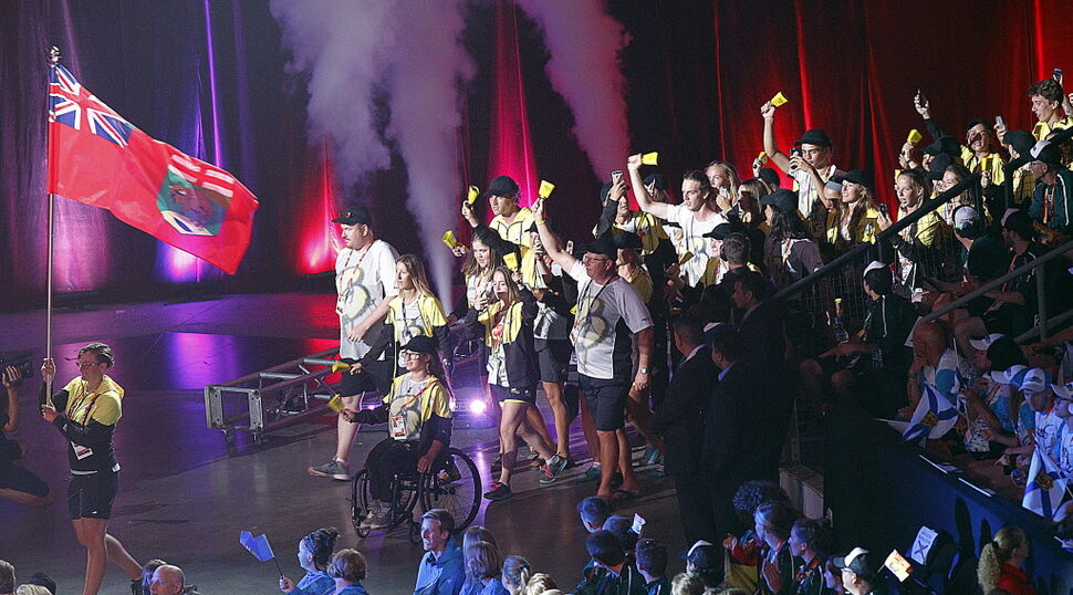 Team Manitoba marches into the Canada Games opening ceremonies at Bell MTS Place. (PHIL HOSSACK / WINNIPEG FREE PRESS  )