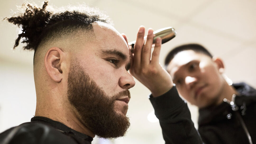Toronto Blue Jays catcher Russell Martin, left, with Diamante.