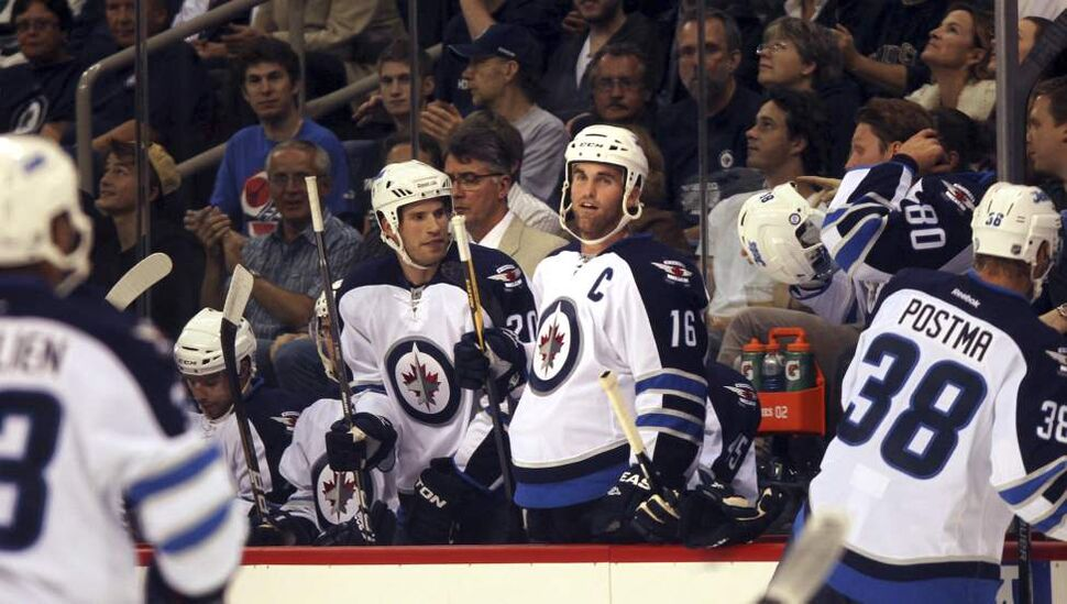 Jets Captain Andrew Ladd  against Columbus in their first home game in 15 years. (Phil Hossack / Winnipeg Free Press)