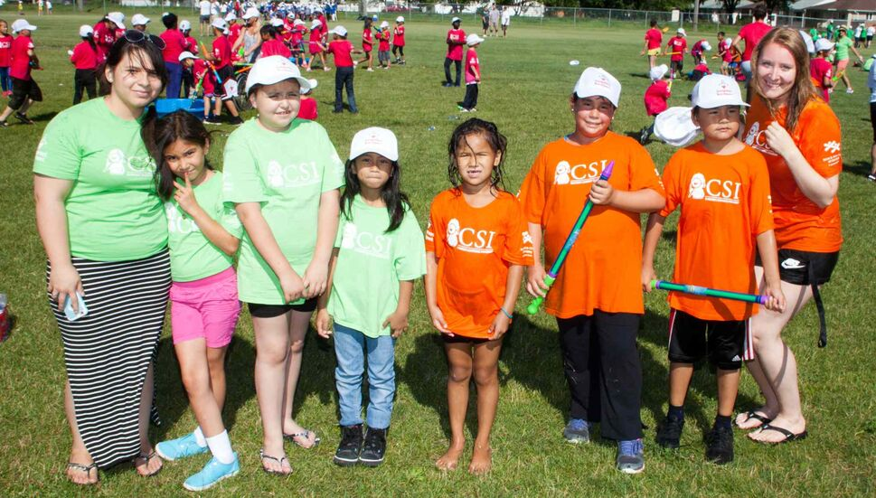 The second annual Canadian Jumpstart Games were held at Sinclair Park Community Centre on July 30, 2015. Hundreds of children from Boys and Girls Clubs of Winnipeg's community school investigators (CSI) program took part. The children were from 14 different schools in Winnipeg School Division. The games are sponsored and supported by Canadian Tire and its associated store chains. Pictured, from left, are Desirae Thomas, Chanell, Georgia, Danielle, Kelsey, Delmar, Annabella, and Kara Loney. (JOHN JOHNSTON FOR THE WINNIPEG FREE PRESS)