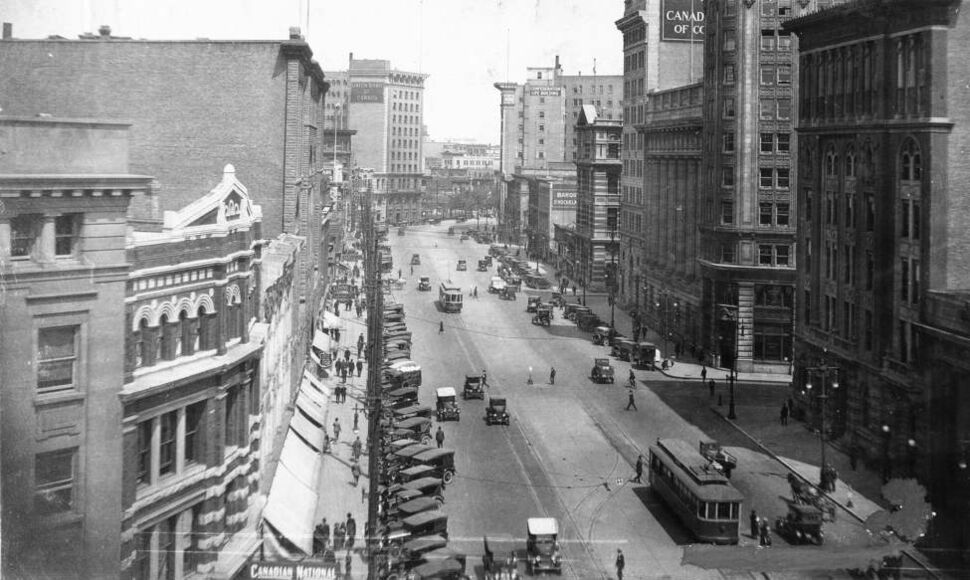 Main Street looking north from Portage Avenue, undated. (Winnipeg Free Press Archives)