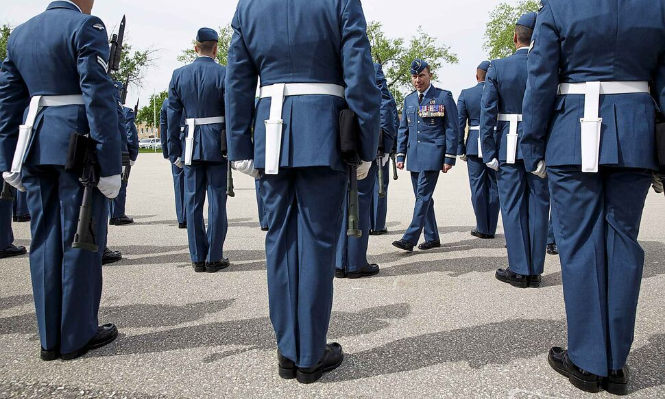 MIKE DEAL / WINNIPEG FREE PRESS</p><p>Brigadier-General Sean Boyle, Deputy Commander 1 Canadian Air Division reviews the contingent of the RCAF, Friday, June 08, 2018, during one of their final practices at 17 Wing Winnipeg before heading to London to perform Public Duties for Her Majesty Queen Elizabeth II from June 25 to July 15.</p>