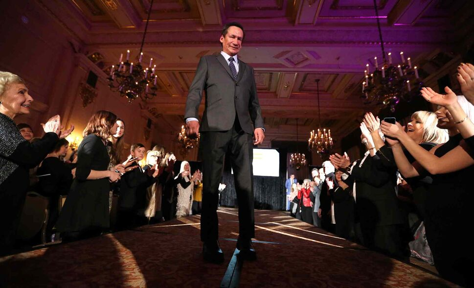 JASON HALSTEAD / WINNIPEG FREE PRESS</P><p>Mainstay resident Andrew Meekis models EPH Apparel clothing at the Runway to Change fashion show fundraiser presented by Qualico in support of Main Street Project on Feb. 2, 2017, at the Fort Garry Hotel.