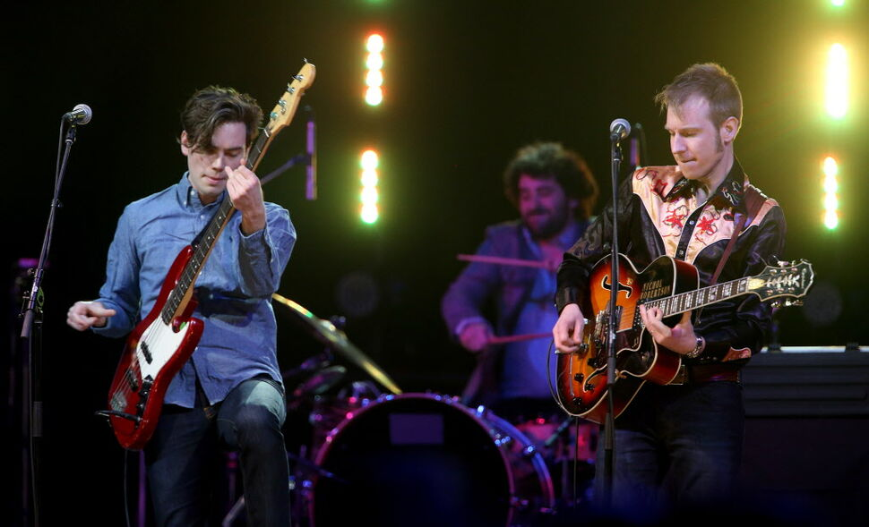 The Devin Cuddy Band perform during the Juno Gala at the Winnipeg Convention Centre. (TREVOR HAGAN / WINNIPEG FREE PRESS)