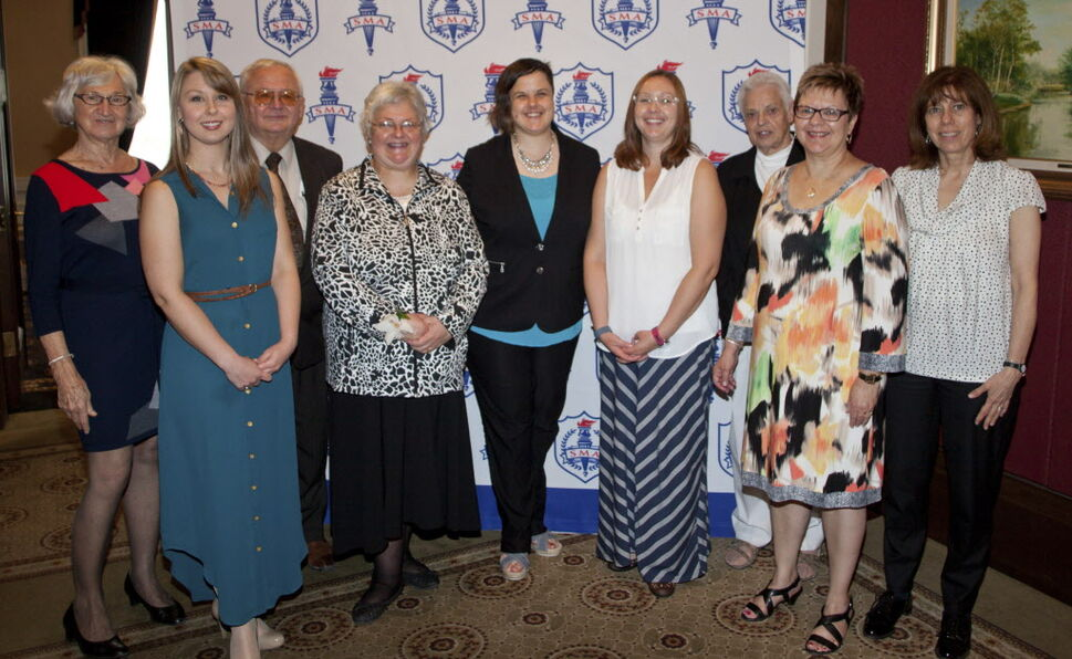 St. Mary's Academy's annual Marian Awards for Excellence luncheon was held at the Manitoba Club on May 9, 2015. Pictured are Dr. Stella Hryniuk, Katya Ferguson, Terry Hryniuk, Marianna Carol Hryniuk-Adamov (award recipient), Stephanie Adamov, Lisa Smith, Sister Alice Konefall, Gail Burnside and Elizabeth Wolfram.  (JOHN JOHNSTON / WINNIPEG FREE PRESS)