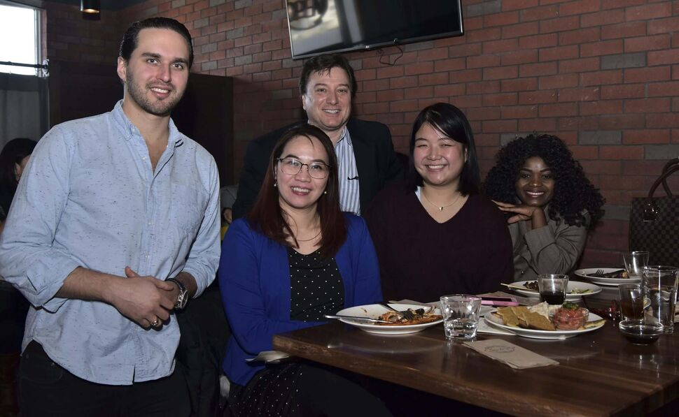 L-R: Benjamin Nasberg (Carbone president and CEO), Marilyn Camaclang (Westland communications and development co-ordinator), John Prystanski (Westland Foundation's founder and president), Duyen Chau (Westland alumni member) and Missie Gatoro (Westland alumni member) at the Westland-Carbone Scholarship awarding event on Nov. 6, 2019 at Carbone Coal Fired Pizza in St. Vital. (Submitted, Inna Borysevych / Westland Foundation)