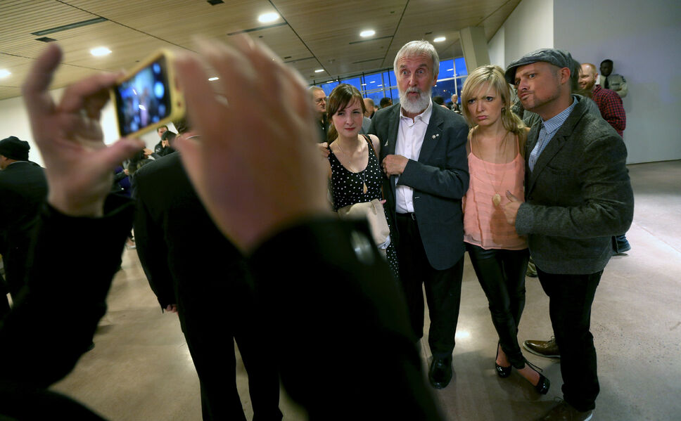 Fred Penner poses for a group photo at the Juno Reception inside the Canadian Museum for Human Rights on Friday. (Trevor Hagan / Winnipeg Free Press)