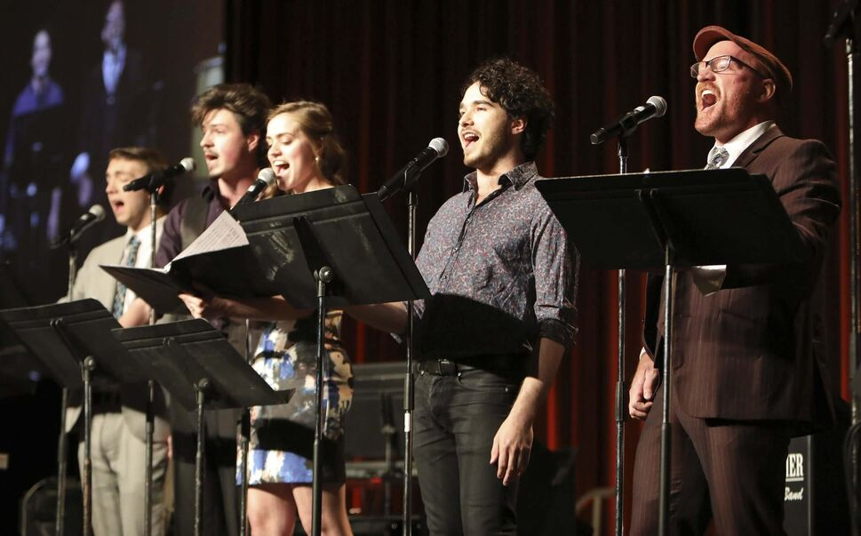Rainbow Stage Strike! The Musical performers (from left) Dane Bjornson, Duncan Cox, Elena Howard-Scott, Josh Bellan and Carson Nattrass.</p>