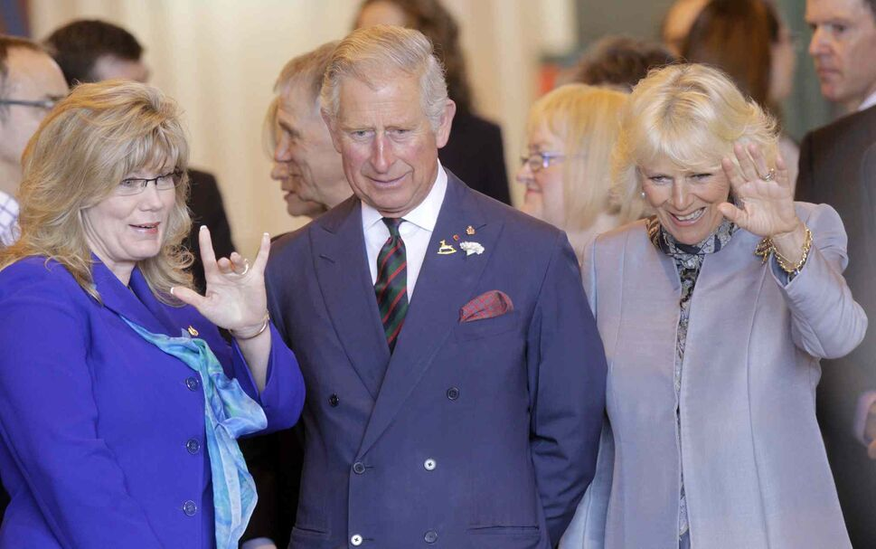 Shelly Glover, left, Minister of Canadian Heritage and Official Languages, with Prince Charles and Camilla  (Wayne Glowacki / Winnipeg Free Press)