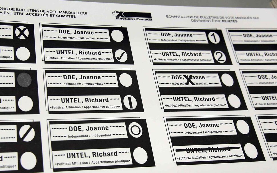 Sample ballots are shown during a media tour at a warehouse at Elections Canada in Ottawa last November. (CP)