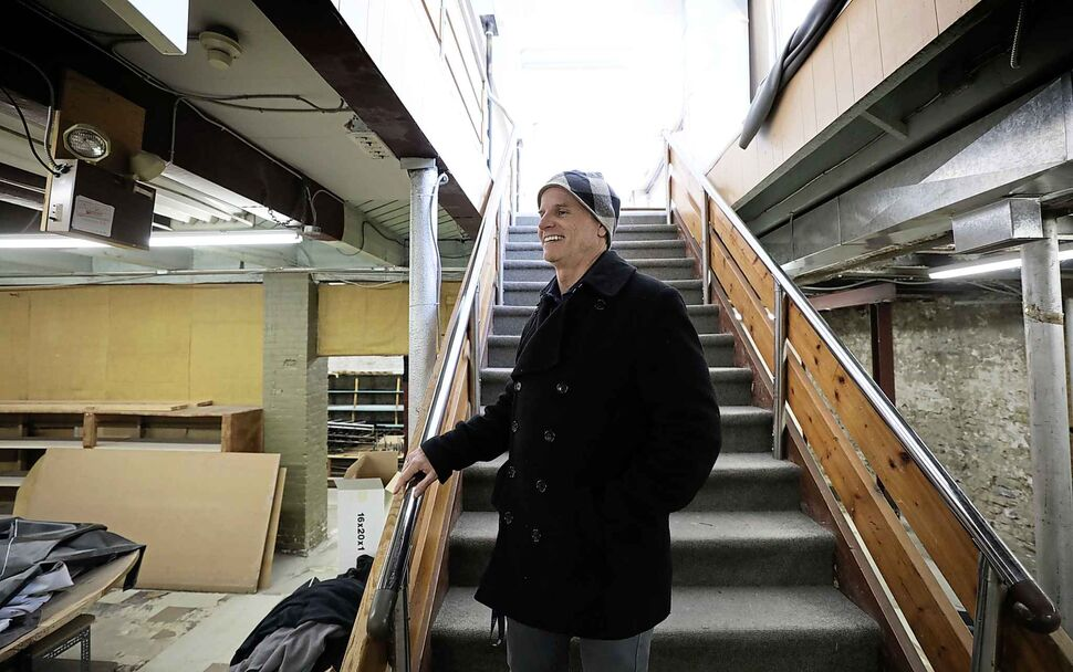 Main Street Project executive director Rick Lees looks over the space in the basement level.  (Ruth Bonneville)