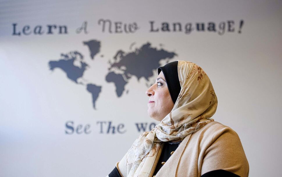 Doctoral Candidate and Arabic Language Instructor, Rawia Azzahrawi, inside one of the classes she teaches at the University of Manitoba. (Mike Sudoma / Winnipeg Free Press)