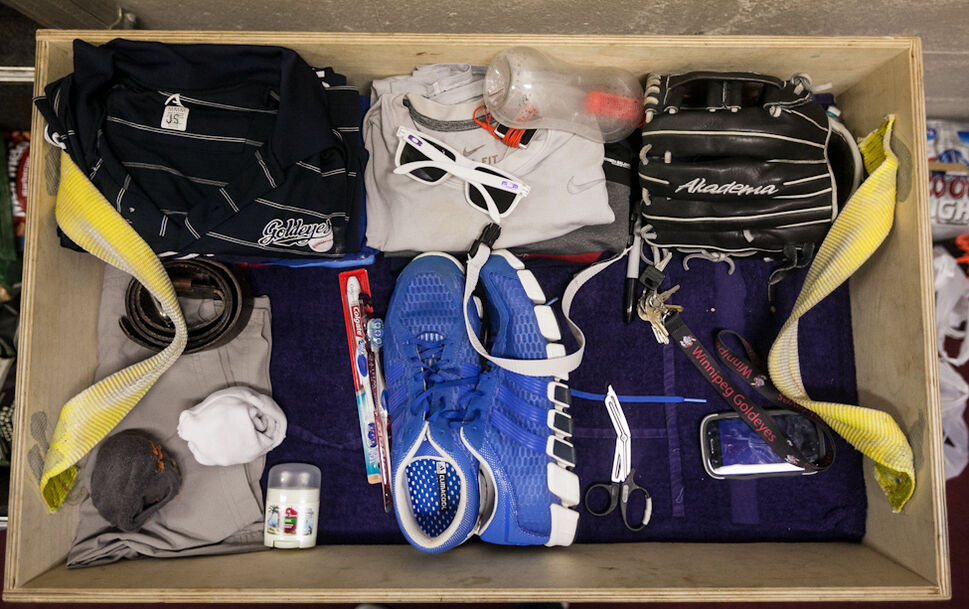 Goldeyes equipment in the clubhouse at Lewis and Clark stadium in Sioux City. (Melissa Tait / Winnipeg Free Press)