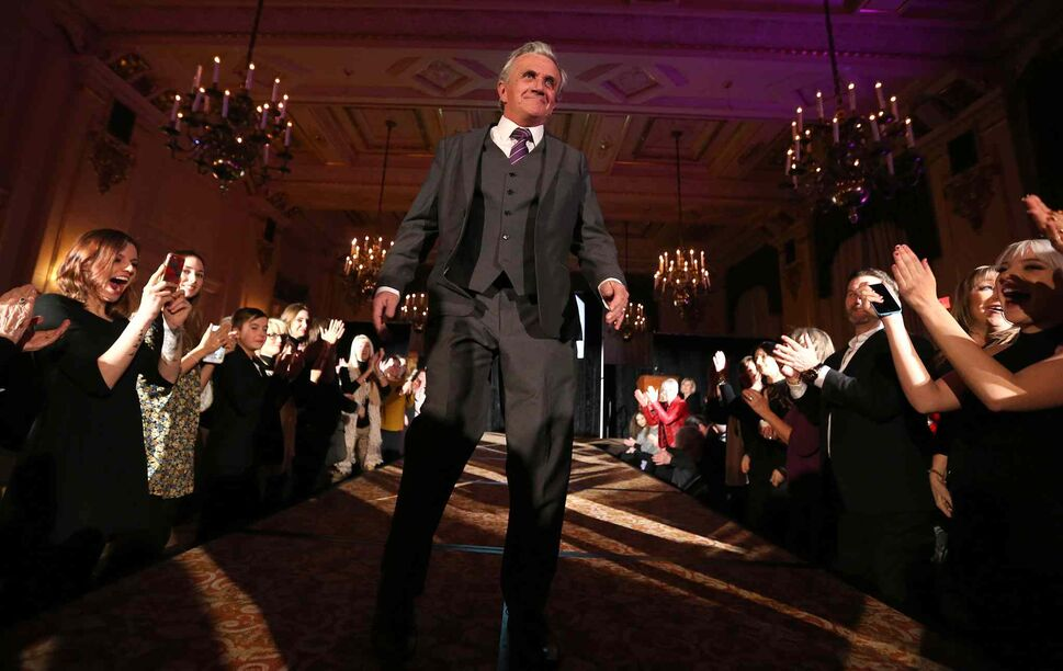 JASON HALSTEAD / WINNIPEG FREE PRESS</P><p>Former Main Street Project client and current staff member Phil Goss models EPH Apparel clothing at the Runway to Change fashion show fundraiser presented by Qualico in support of Main Street Project on Feb. 2, 2017, at the Fort Garry Hotel.