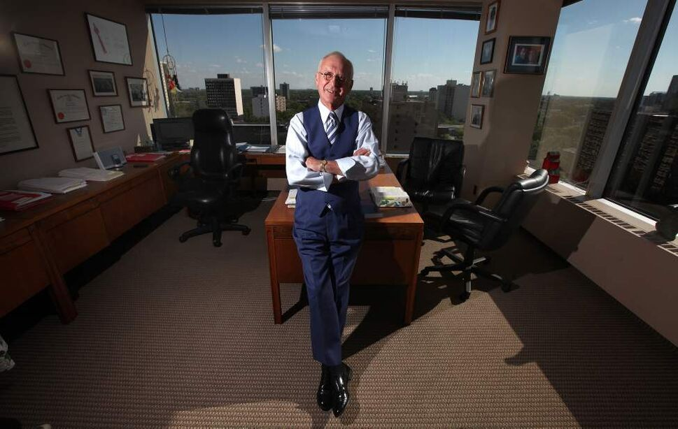 Harvey Pollock poses in his Broadway Law Firm. September 10, 2013  (Phil Hossack / Winnipeg Free Press)