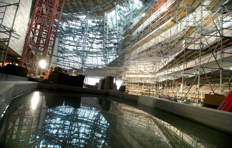 Garden of Contemplation looking into the Cloud, a giant glass structure that surrounds the upper floors of the museum.   (Ruth Bonneville/Winnipeg Free Press)