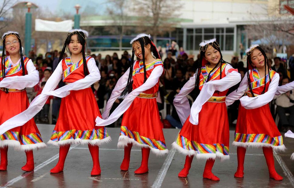 Members of the Great Wall Performing Arts school perform during Asian Heritage Month celebrations at The Forks, Sunday. (TREVOR HAGAN / WINNIPEG FREE PRESS)