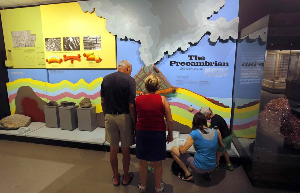 The Manitoba Museum. Some people look at the Precambrian exhibit that shows how the land was formed in Manitoba. BORIS MINKEVICH/WINNIPEG FREE PRESS