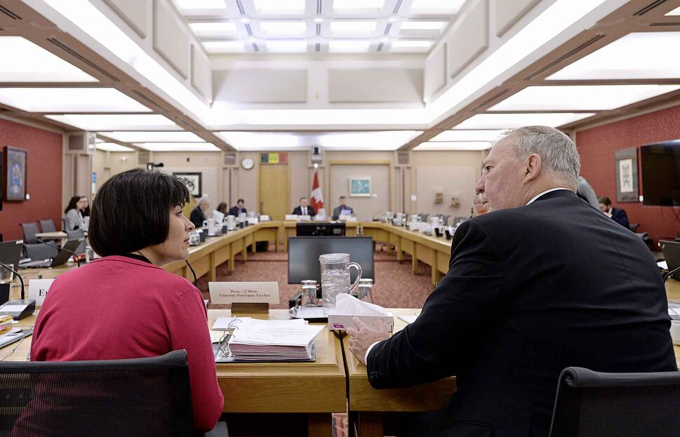 Health Minister Ginette Petitpas Taylor and her parliamentary secretary Bill Blair testified about Bill C-45 before the Senate Aboriginal Peoples committee hearing witnesses on Tuesday, April 17, 2018.  (Justin Tang / The Canadian Press) (CP)
