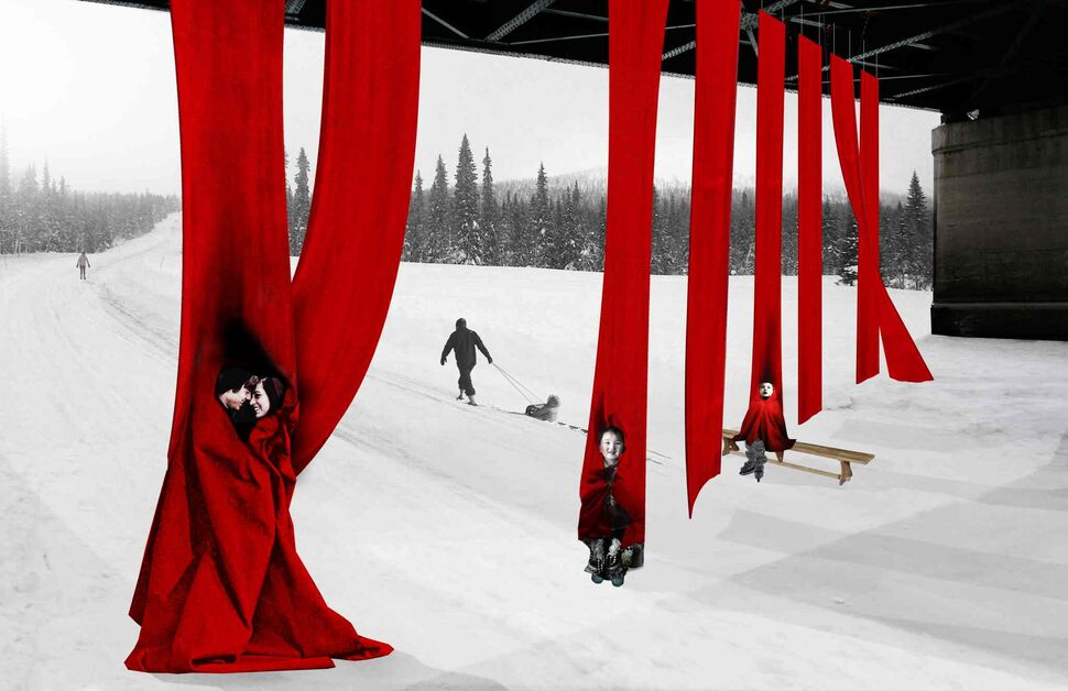 An artist's rendering of the 'Red Blanket' warming hut design by Toronto's WorkShop Architecture. Their design is composed of red, felted wool panels, held in place by a rod at the top and hung in two parallel lines from a bridge. Cold skaters are invited to wrap themselves in these immense blankets, huddle in groups, play and be social. (Submitted)