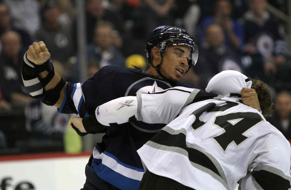 Winnipeg Jets Evander Kane fights with Colin Fraser during the second period. (JOE BRYKSA / WINNIPEG FREE PRESS)