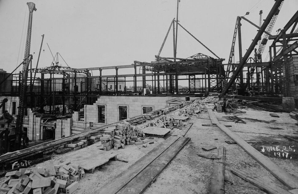 Interior construction in June 1917 (Archives of Manitoba).