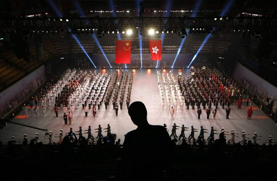 International military bands perform during a rehearsal for the International Military Tattoo in Hong Kong. The Tattoo spectacular will feature world military bands from China, the United States, Australia, Russia, Scotland, Turkey, Scotland and Hong Kong. (AP Photo/Kin Cheung)