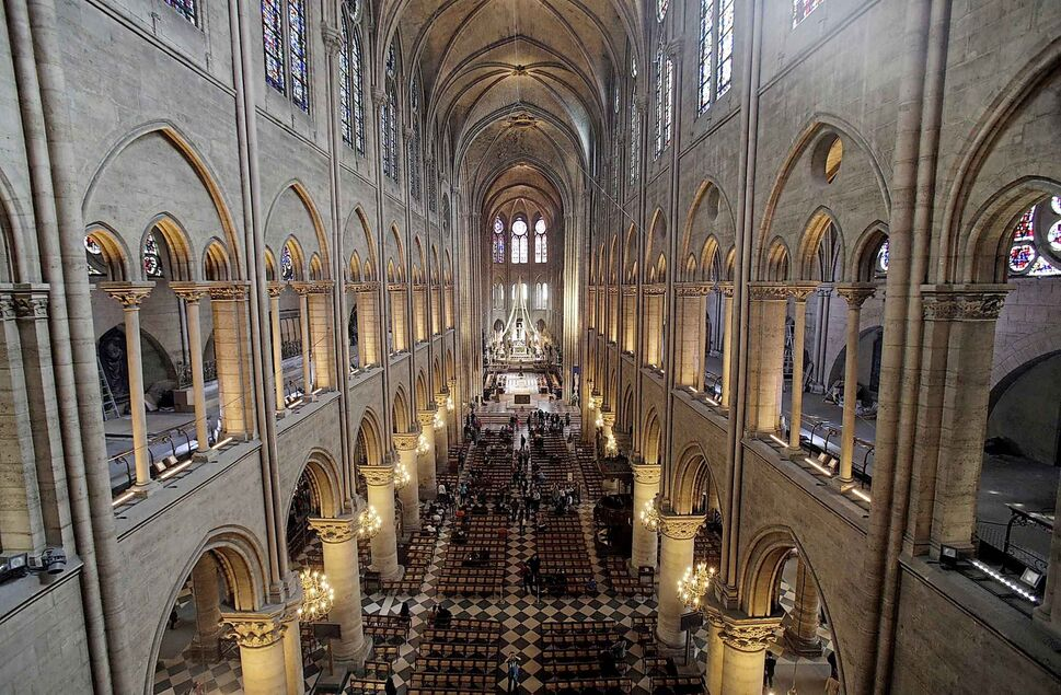 The view from the organ loft at Notre Dame cathedral in Paris in 2013, when the organ was refurbished for the cathedral's 850th anniversary. (Christophe Ena / The Associated Press files)