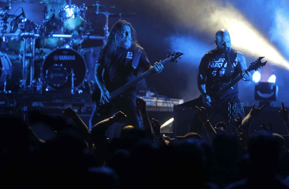 Bassist/vocalist Tom Aray (left) and guitarist Kerry King are the two remaining original members of the band. (BORIS MINKEVICH / WINNIPEG FREE PRESS)