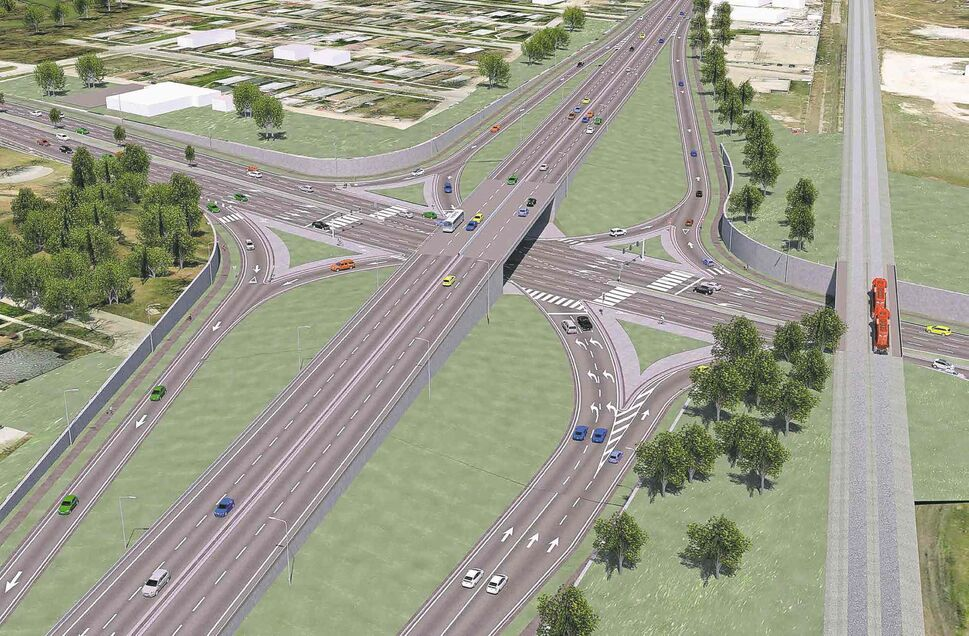 This drawing shows the city's proposed interchange and underpass for Marion and Archibald streets designed to eliminate traffic backups caused by CPR train crossings (far right).