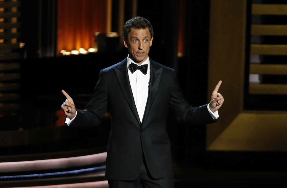 Seth Meyers hosts the 66th Annual Primetime Emmy Awards at Nokia Theatre at L.A. Live in Los Angeles on Monday. (Robert Gauthier/Los Angeles Times/MCT)