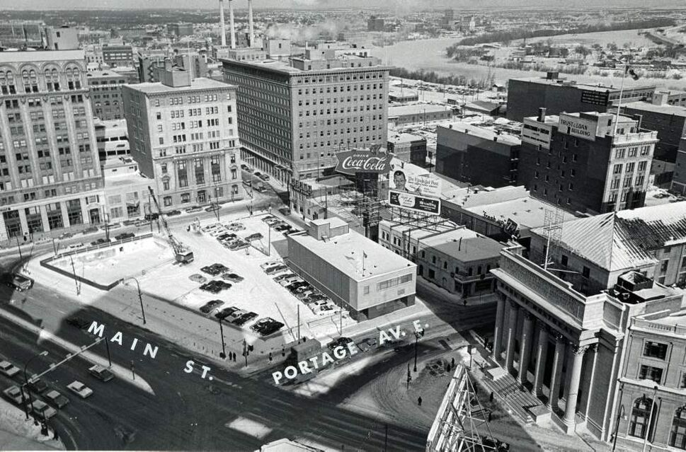 Construction begins in 1967 on the future site of the Richardson Building at Portage and Main. (Winnipeg Free Press Archives)