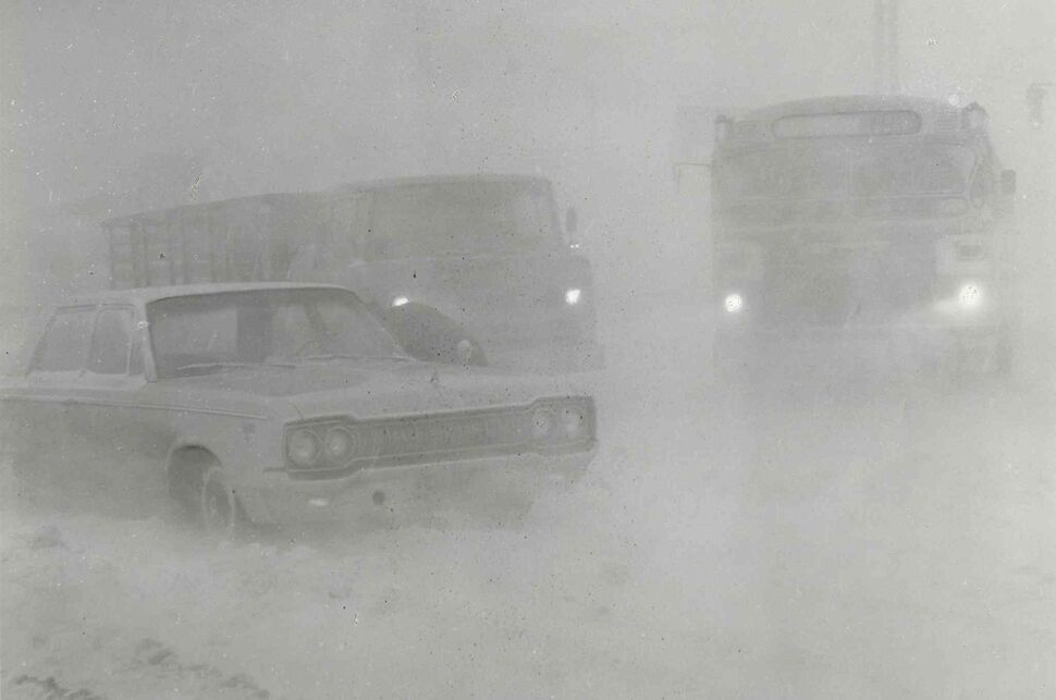 Traffic on Portage Avenue at Polo Park at 8:30 a.m. was barely visible.  (Jack Ablett / Winnipeg Free Press Archives)