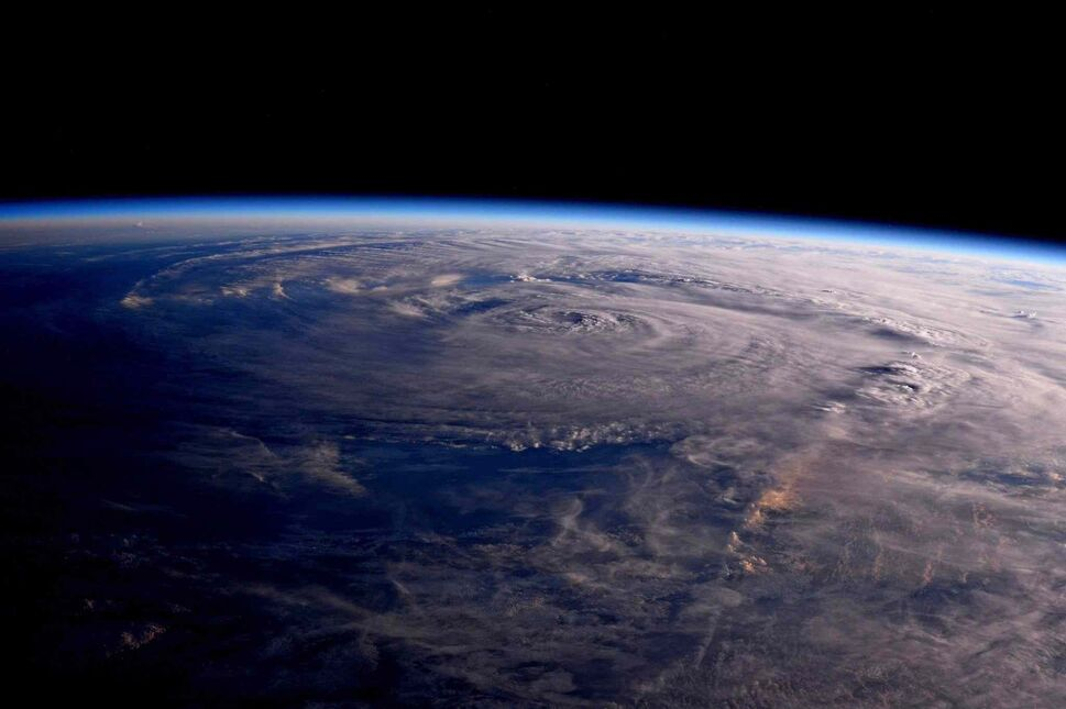 This photo made available by NASA shows Hurricane Harvey over Texas on Saturday, Aug. 26, 2017, seen from the International Space Station.  (Jack Fischer / NASA)