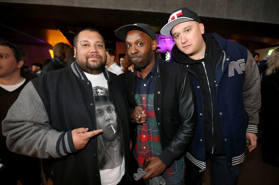 Members of A Tribe Called Red, left and right, with Shad, middle, take part in Friday's Juno Reception inside the Canadian Museum for Human Rights. Both are nominated for Junos.  (Trevor Hagan / Winnipeg Free Press)