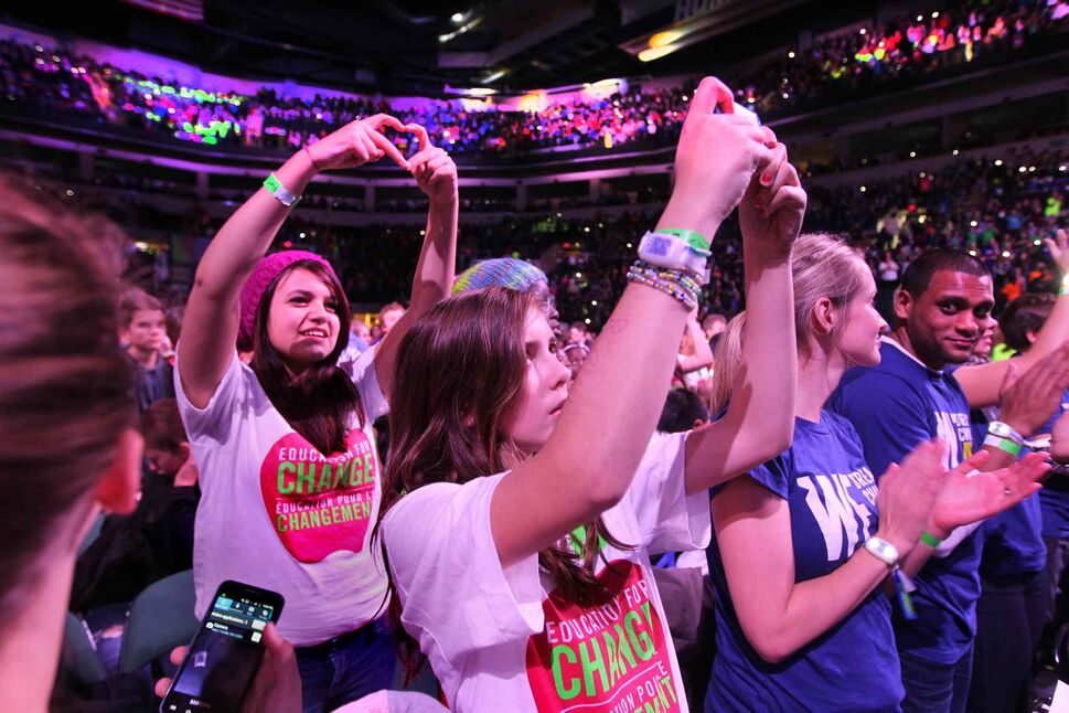Thousands of students take a picture of the final moments of We Day. (Ruth Bonneville / Winnipeg Free Press)