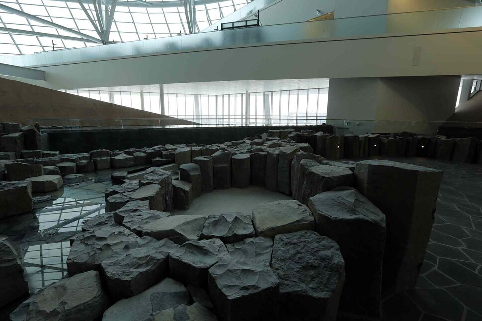 On the second level, rocks and a pond fill the Garden of Contemplation. (KEN GIGLIOTTI / WINNIPEG FREE PRESS)