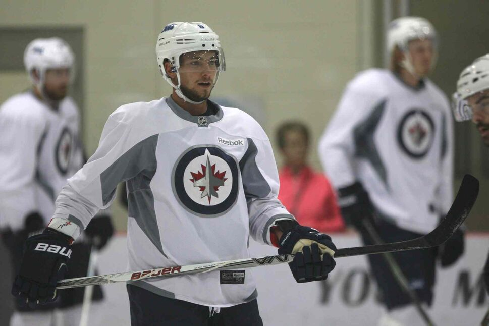 Winnipeg Jets  Alex Burmistrov at group B practice Friday afternoon at of training camp at the MTS Iceplex last week.