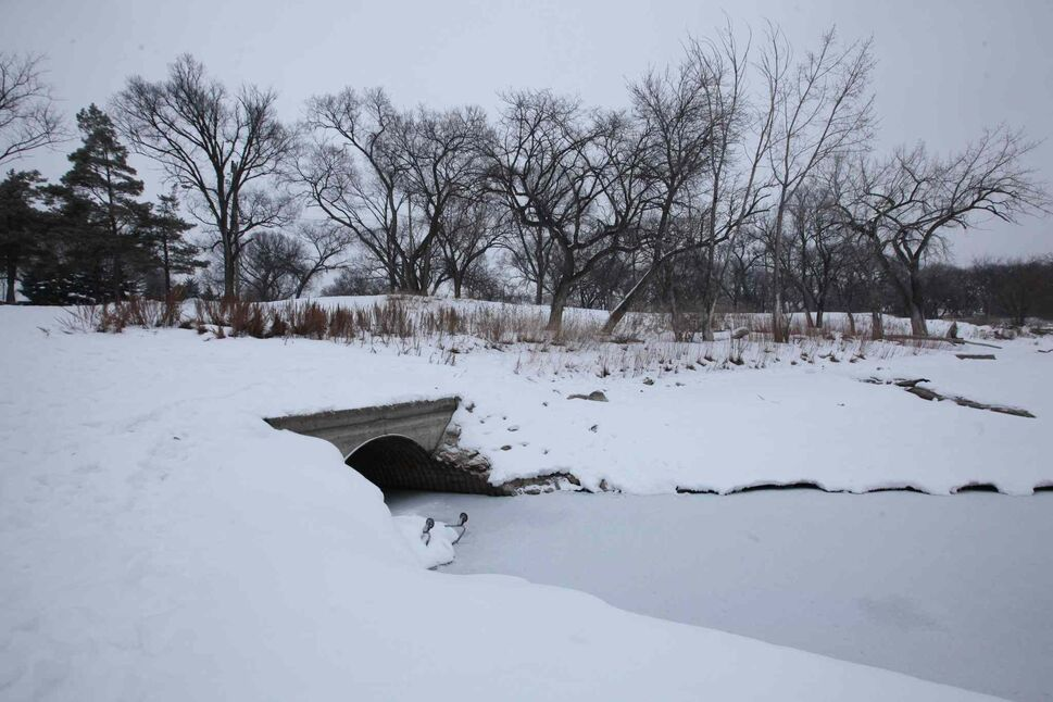 Culvert that opens into the Red River at St. John's Park on Main Street and Mountain Ave. (Ruth Bonneville / Winnipeg Free Press)