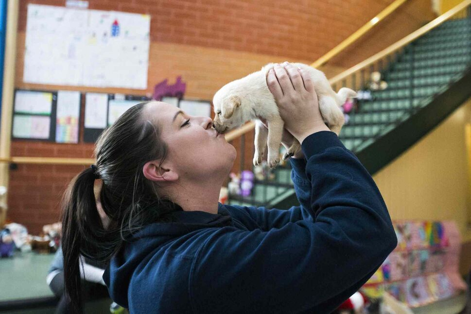 MIKAELA MACKENZIE / WINNIPEG FREE PRESS</p><p>Manitoba Underdogs volunteer Shawna Beach-Nelson kisses a puppy at a dog spay and neuter clinic on the Chemawawin First Nation Reserve. Many northern Manitoban communities have problems with stray dog overpopulation, and initiatives like these aim to reduce their numbers in a humane way while increasing the quality of life for dogs and humans.</p>