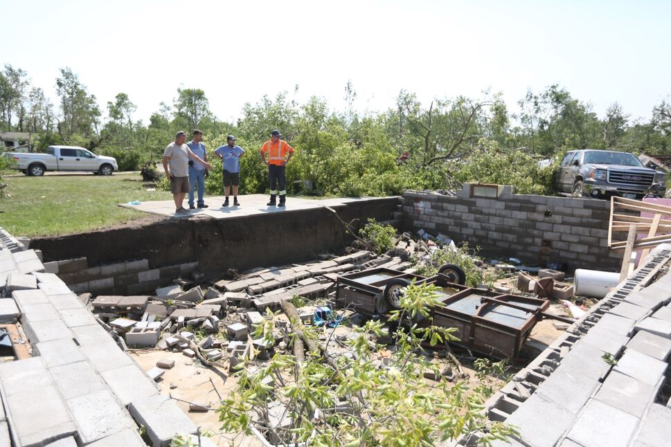A cabin was reduced to piles of rubble after a tornado struck Margaret Bruce Beach near Alonsa on Friday. (Melissa Verge/The Brandon Sun)