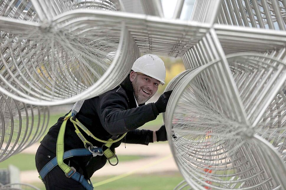 Forever Bicycles overseer Dan Page inside the installation. (PHIL HOSSACK / WINNIPEG FREE PRESS)