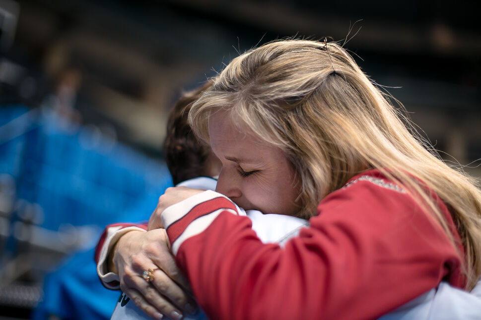 Jennifer Jones hugs her mother after winning Roar of the Rings and a place on the Canadian Olympic Team. Day 50. (MELISSA TAIT / WINNIPEG FREE PRESS)