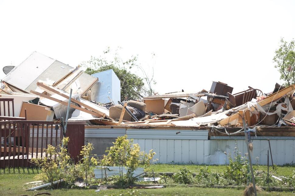 A house  just off Bluff Creek Road near Margaret Bruce Beach has been completely destroyed after a tornado on Friday. (Melissa Verge / The Brandon Sun)