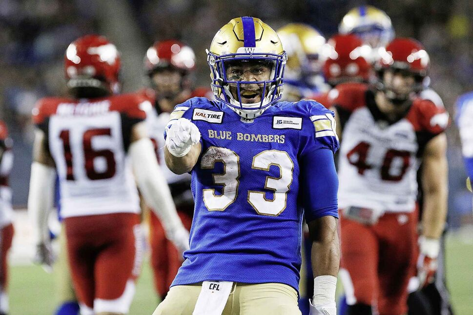 Andrew Harris and the Winnipeg Blue Bombers take on the Calgary Stampeders, Saturday.