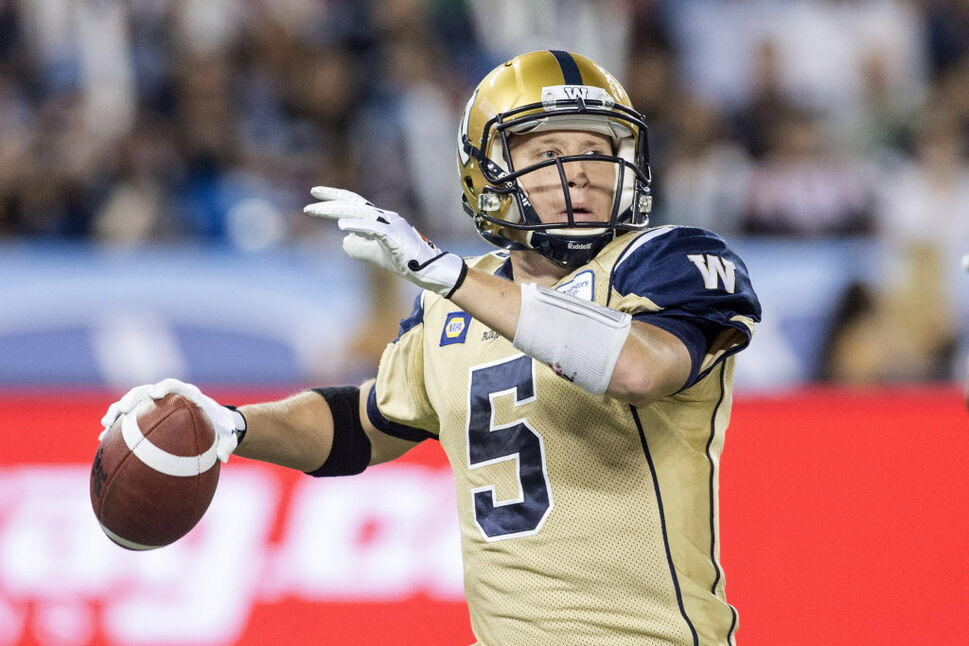 Winnipeg Blue Bombers quarter back Drew Willy looks to make a play against Toronto Argonauts. (Chris Young / The Canadian Press)