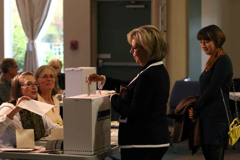 Green Party Leader Elizabeth May casts her ballot at the SHOAL Centre on election day in Sidney, B.C., Monday, Oct. 19, 2015. THE CANADIAN PRESS/Chad Hipolito (CP)