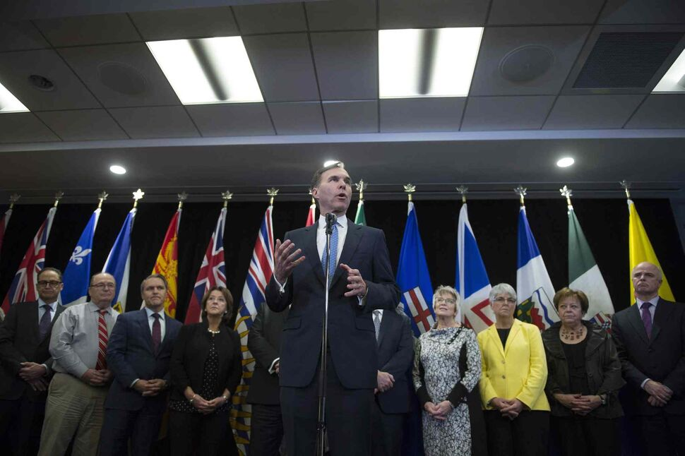 Federal Finance Minister Bill Morneau, with all his provincial ducks in a row. (Sean Kilpatrick / The Canadian Press)